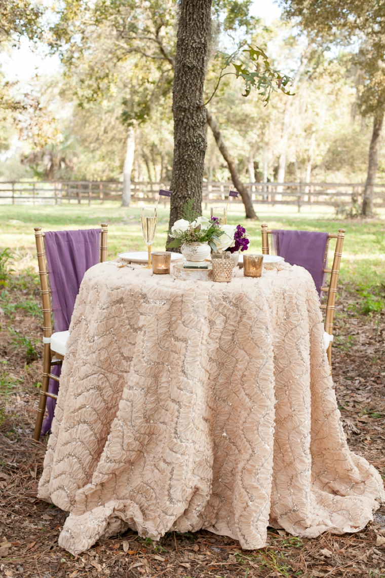 Sweetheart Table Idea:  Purple & Gold, X's and O's