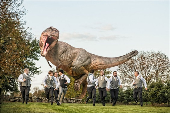 t-rex chases wedding groomsmen