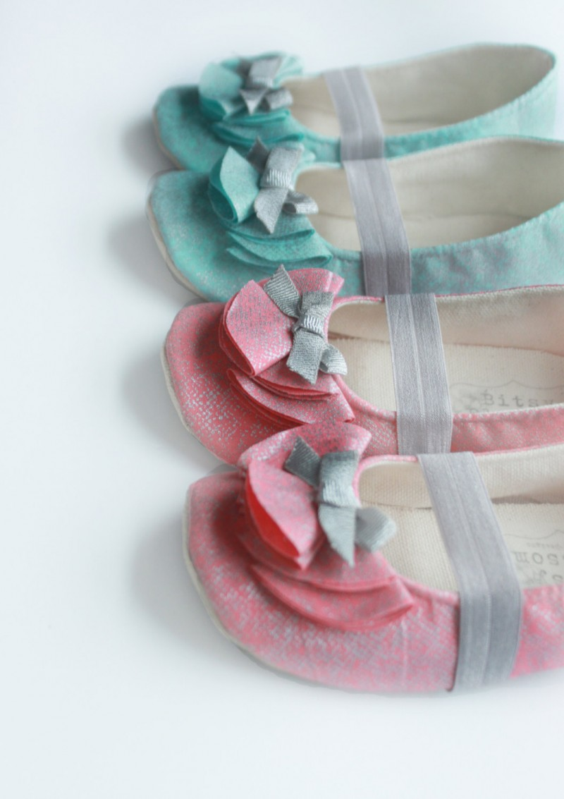 teal and coral flower girl shoes