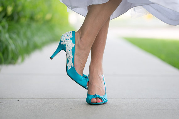 teal blue peep toe wedding heels