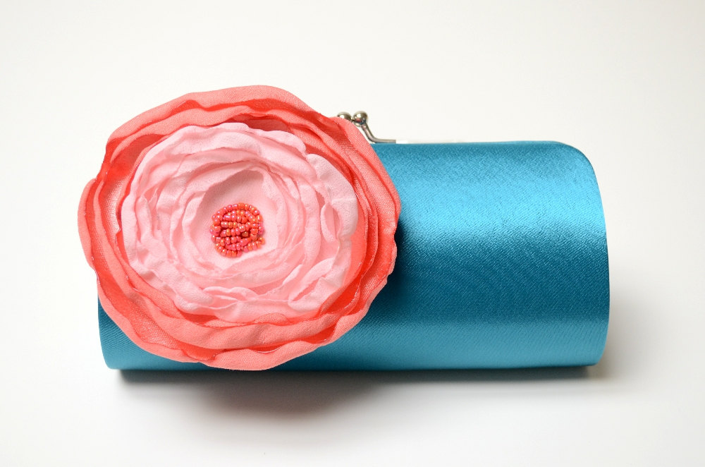 teal clutch with pink flower