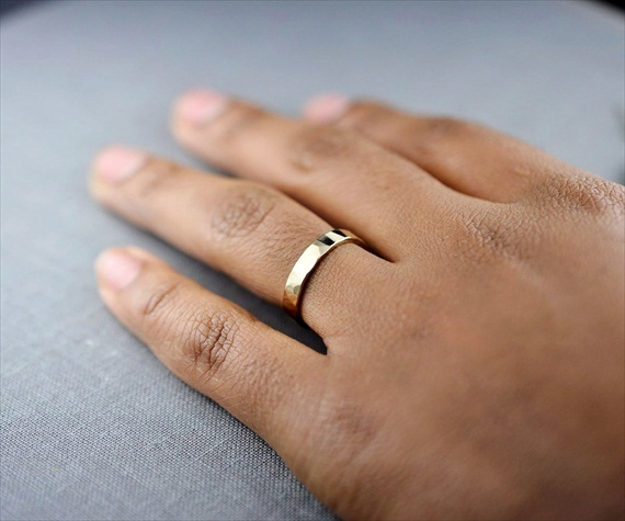 Recycled Wedding Rings: textured gold band