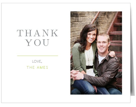 Beautiful thank you card with your engagement photo or favorite photo customized into it | by Basic Invite | order cards weddings | http://emmalinebride.com/planning/order-cards-weddings/
