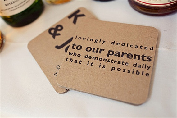 thank you parents wedding coaster