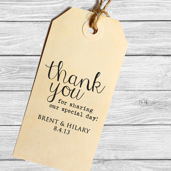 thank you personalized wedding favor tag