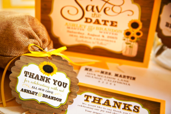 thank you sunflower favor tags by delight invite