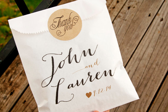 Personalized Favor Bags for Weddings (by Mavora Art and Design via EmmalineBride.com)