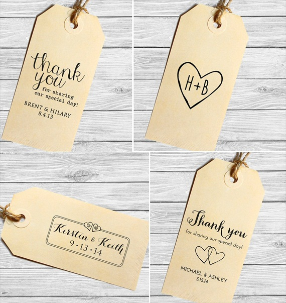 thank you wedding favor tags stamped