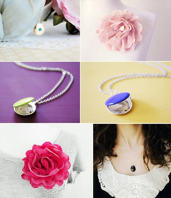 Lockets + Brooches (by The Blooming Thread via EmmalineBride.com)