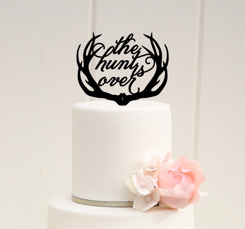 the hunt is over antler wedding cake topper by pink owl designs