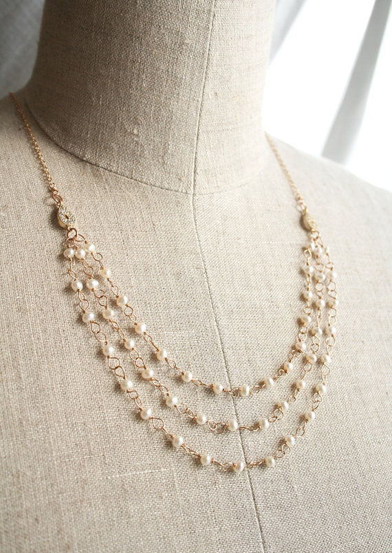 three strand pearl necklace via anniversary gifts by year