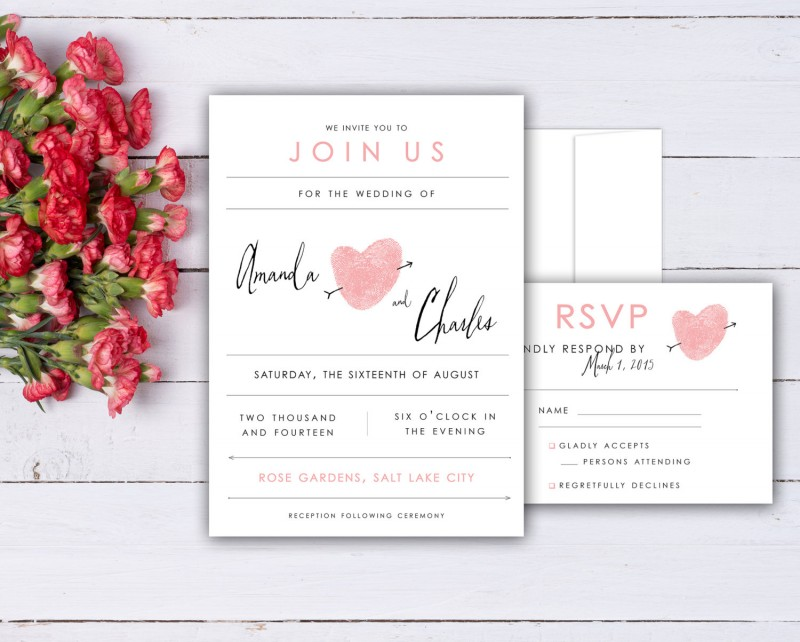 thumbprint wedding invitations