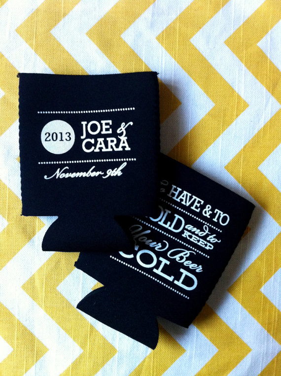 7 Clever Wedding Drink Accessories (to have, hold, and keep your beer cold koozies by rook design co.)
