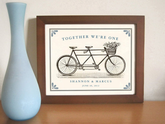 Engagement Gift Ideas (by Dexter Design) - together as one bicycle art print #wedding #engagement