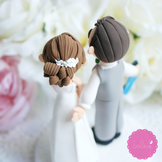 travel wedding cake topper back