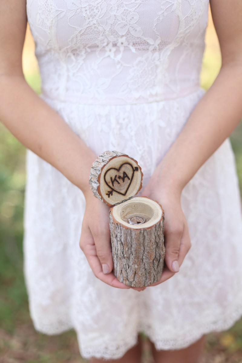tree stump ring box carved initials | by bragging bags