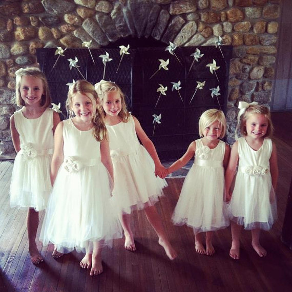 tulle cotton organic flower girl dresses