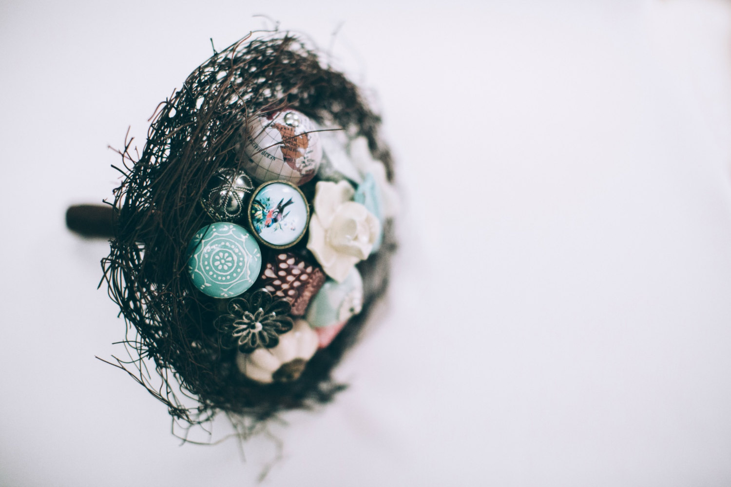 twig inspired bouquet by i heart buttons, photo: pippa brown   Nature Inspired Wedding Ideas   http://wp.me/p1g0if-x0y