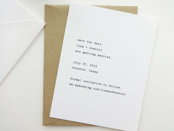 typewriter wedding save the date