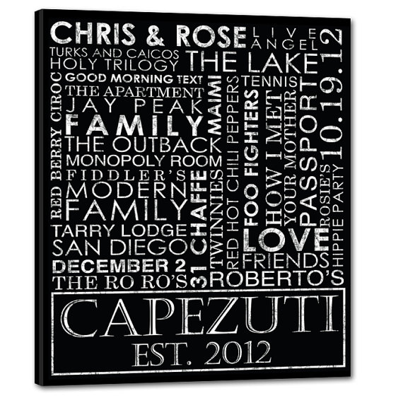 reusable wedding decorations - typography custom wedding canvas gift