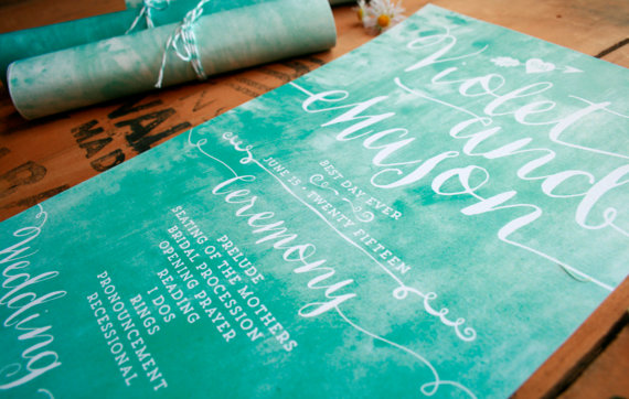 rolled up wedding programs