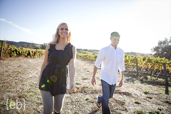 vineyard engagement photo