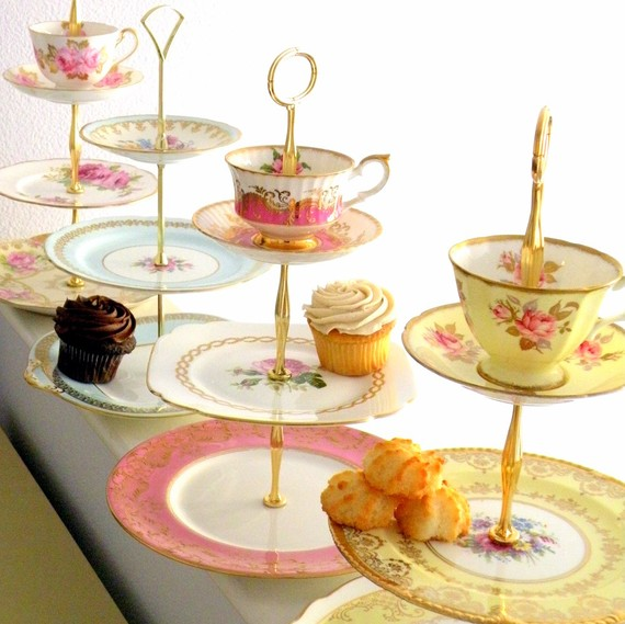 Wedding Cupcake Ideas: vintage china cupcake stand (by High Tea for Alice)