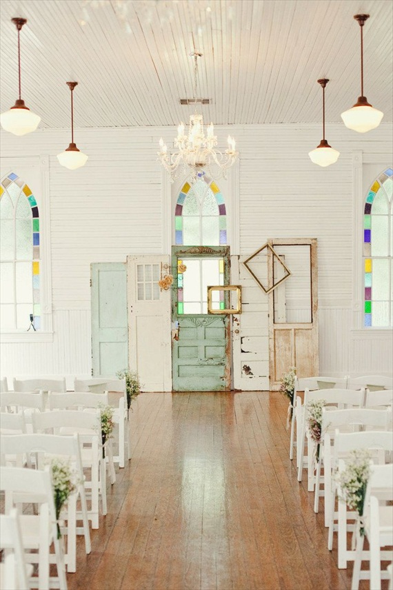 wedding ceremony backdrop with doors | Ceremony Backdrops Doors | photo: The Nichols