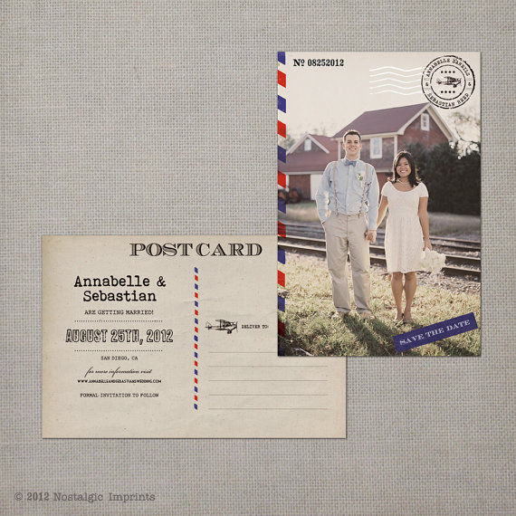 vintage save the dates - airmail with photo