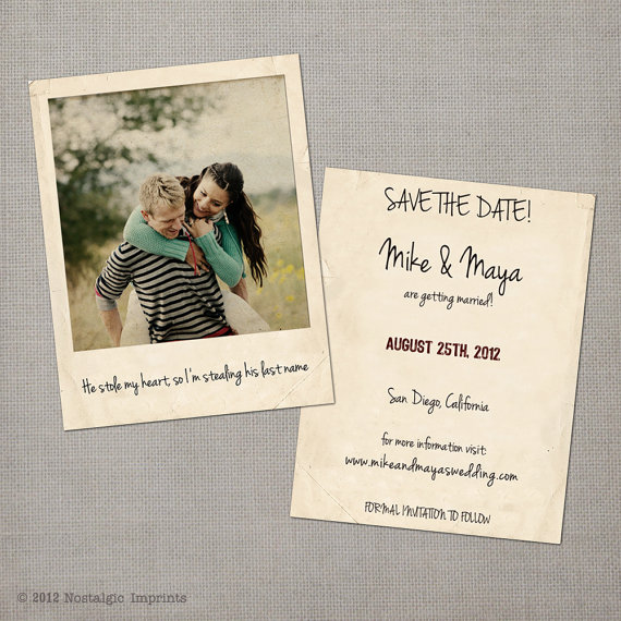 vintage save the date postcards - polaroid taking his last name