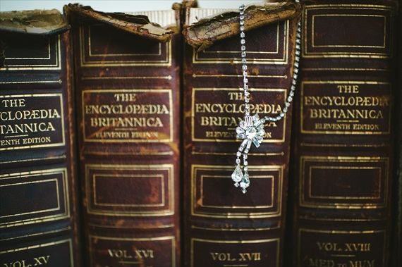 vintage wedding - image of books and bridal necklace