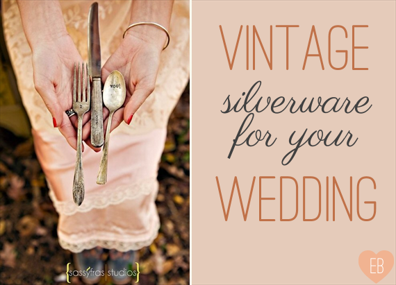 Vintage Wedding Silverware (photo: sassyfras studios, forks: wooden hive) via EmmalineBride.com