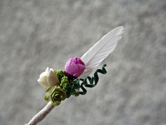violet and green rustic wedding boutonniere