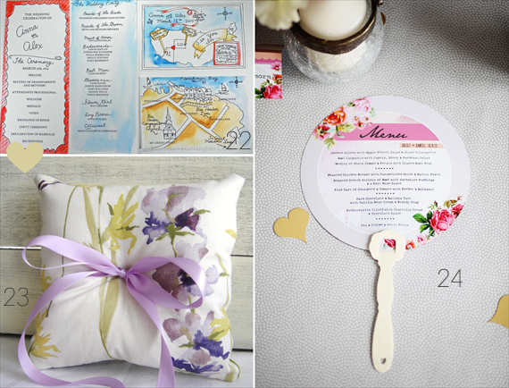 Watercolor Wedding Ideas (22 - tying the knots, 23 - sparrow station, 24 - in the treehouse)