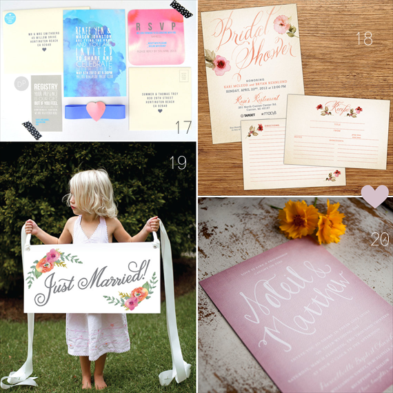 Watercolor Wedding Ideas (17 - daydream prints, 18 - kxo design, 19 - sixpence press, 20 - starboard press)
