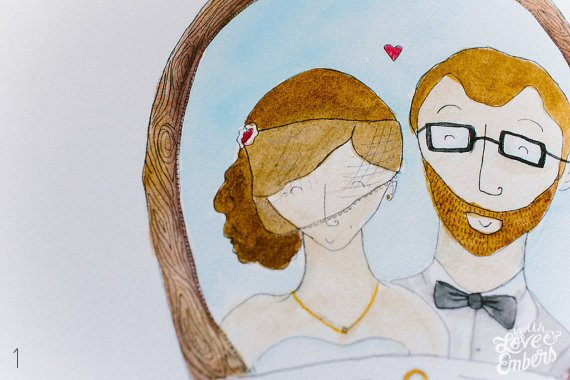 Watercolor Wedding Ideas (bride and groom portrait - happy as a robot)