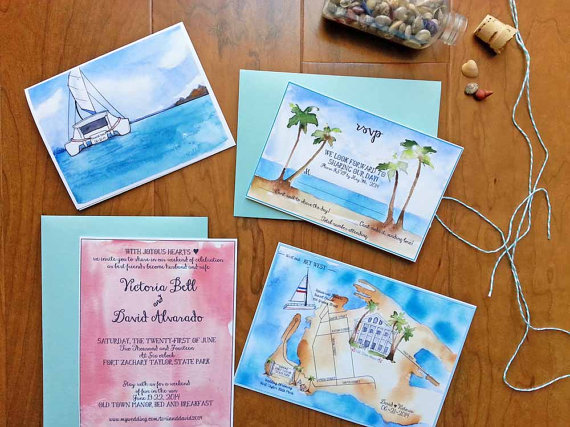 watercolor wedding invitations beach style