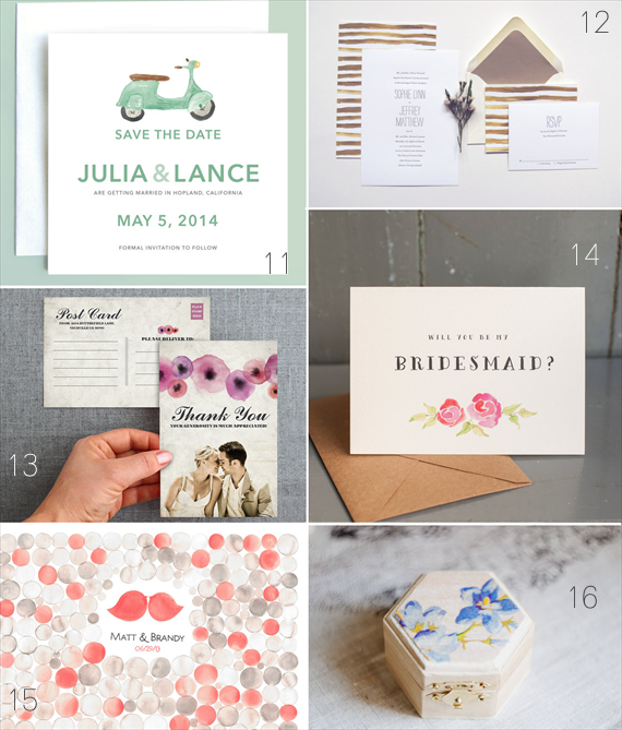 Watercolor Wedding Ideas (11 - leveret paperie, 12 - lucky penny paperie, 13 - minelolly, 14 - starboard press, 15 - once upon a paper, 16 - miss vintage wedding)