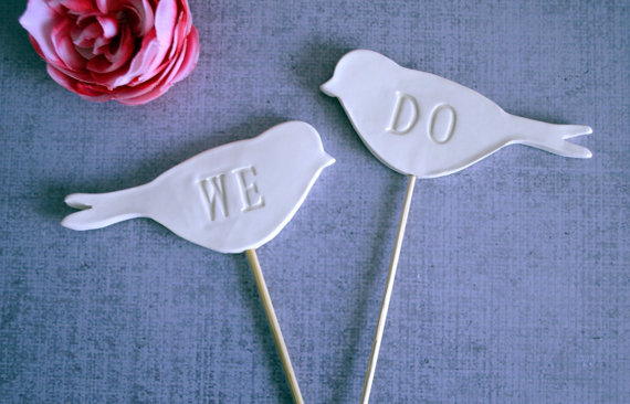 we do bird ceramic cake toppers