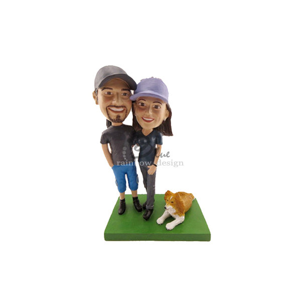 wedding bobblehead cake topper with dog by bobbleheads etsy shop