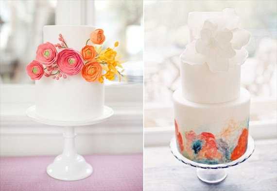 wedding cake with hot pink flowers (cakes by My Sweet and Saucy; photos by Jen Huang)