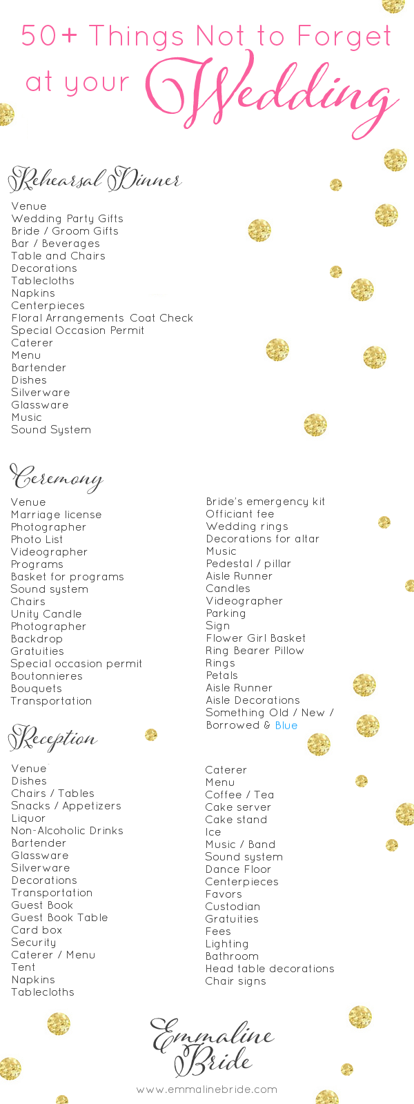 list of things needed for a wedding