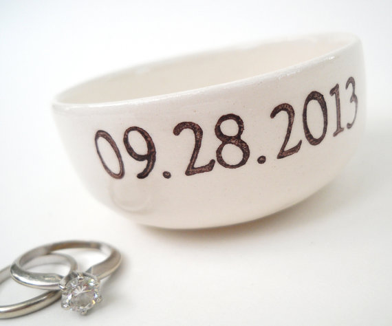 wedding date ring dish