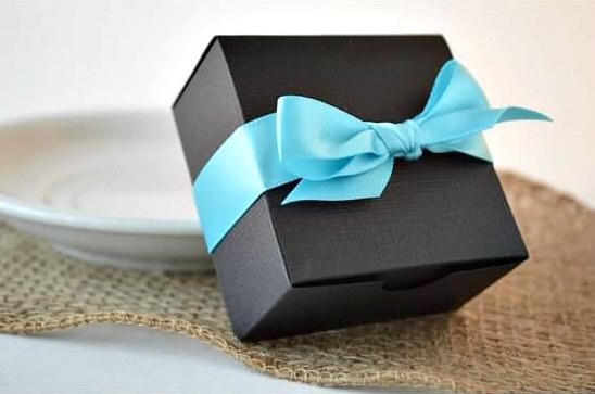 Wedding Favor Bo Black Box With Blue Ribbon By Sosia To Go