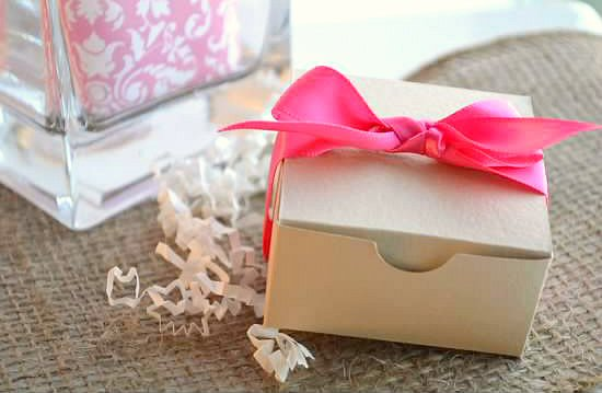 wedding favor boxes - khaki with hot pink ribbon (by sosia to go)