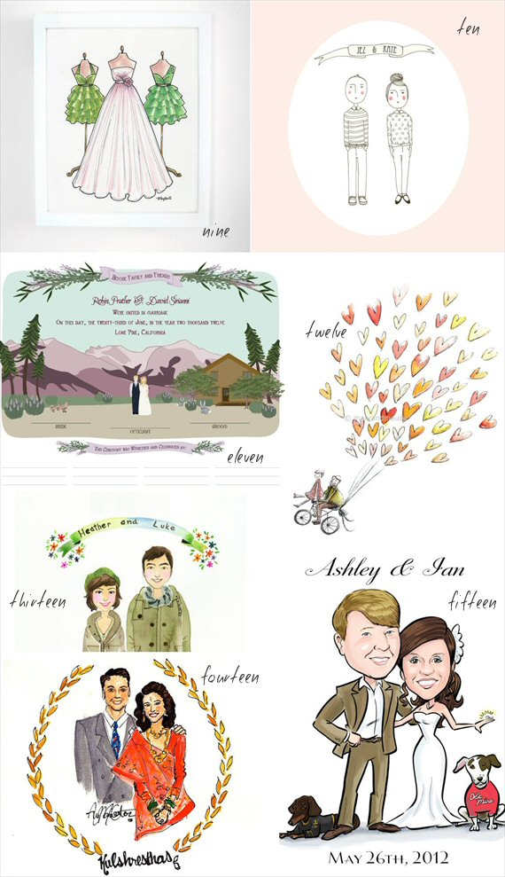 Custom Wedding Illustrations - caricature illustrated watercolors and more