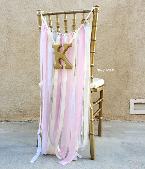 The back of your chair is an unexpected place to include wedding initials. I love this look!