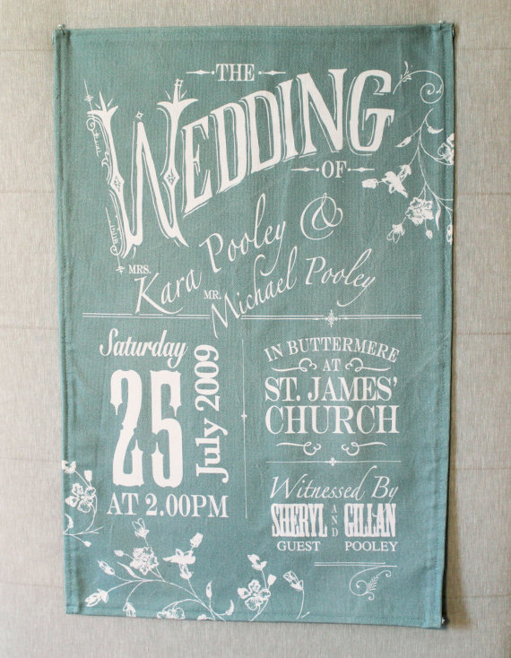 wedding invitation tea towel - tea towels for wedding showers