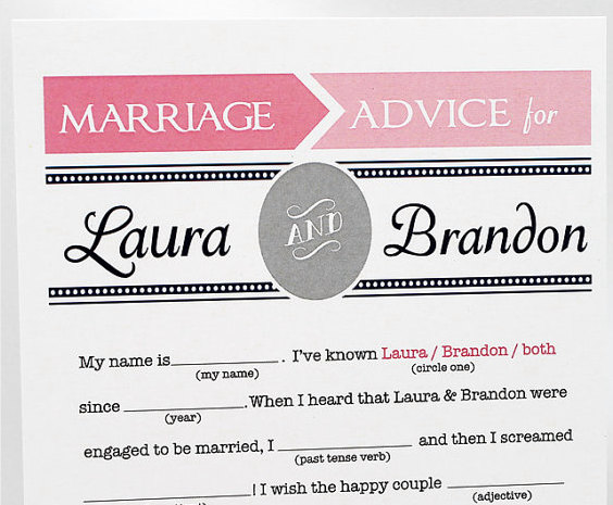 Wedding Mad Libs in Pink and Grey