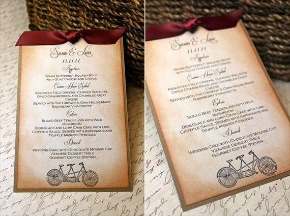 Wedding Menu Cards (by Mother & Daughter Creations via EmmalineBride.com) #handmade #wedding